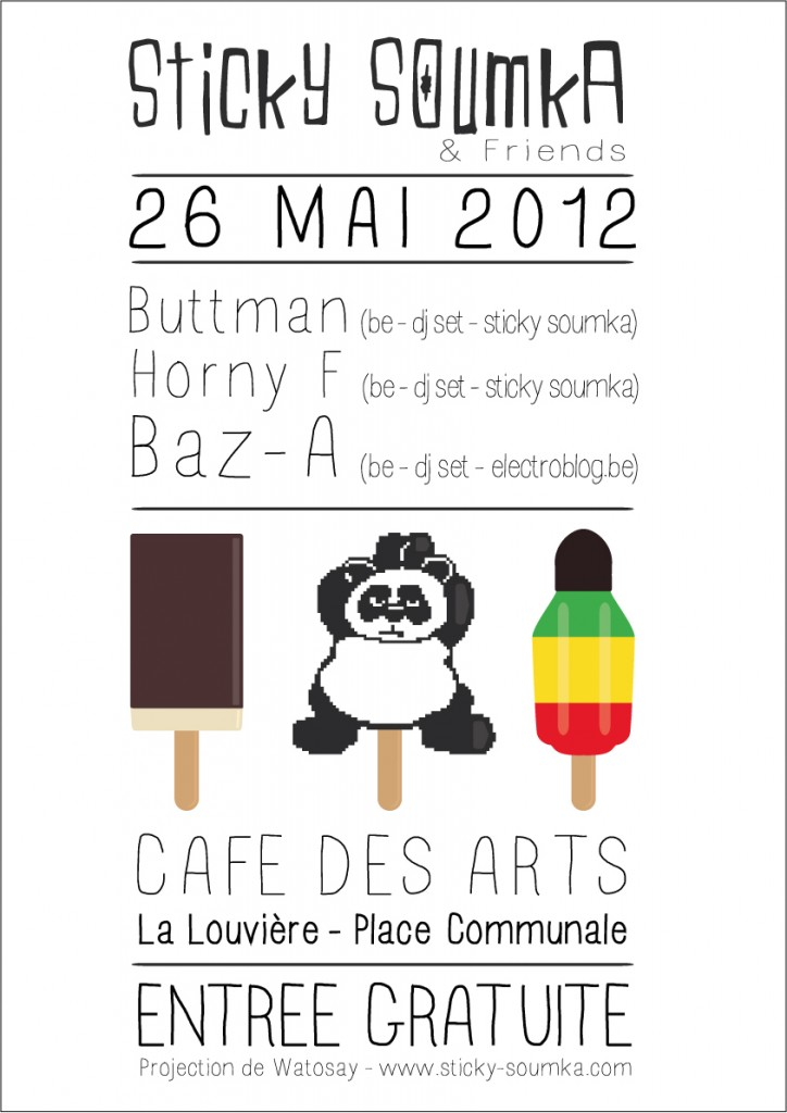 Affiche soirée Café des Arts La Louvière - DJ set Belgique